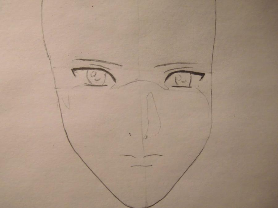 Рисуем Лайта Ягами из Тетрадь смерти карандашами - шаг 2