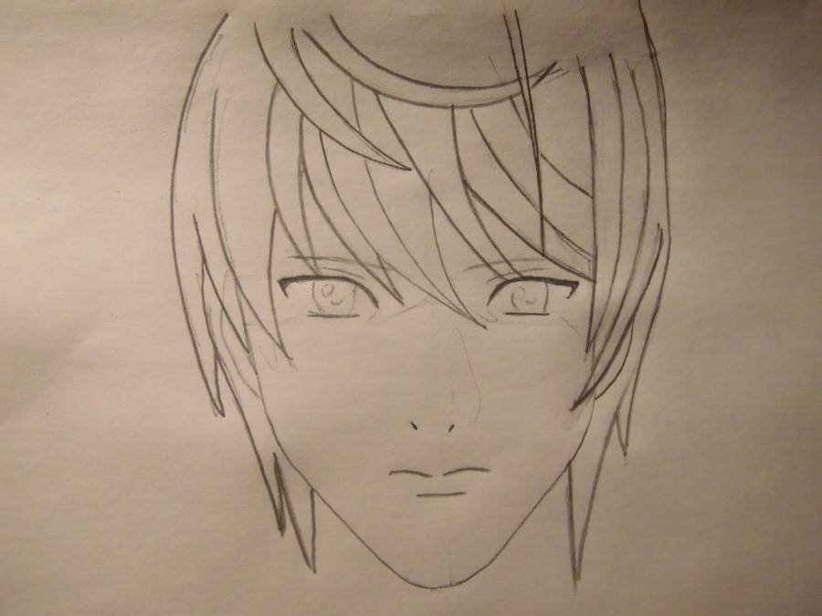 Рисуем Лайта Ягами из Тетрадь смерти карандашами - шаг 3