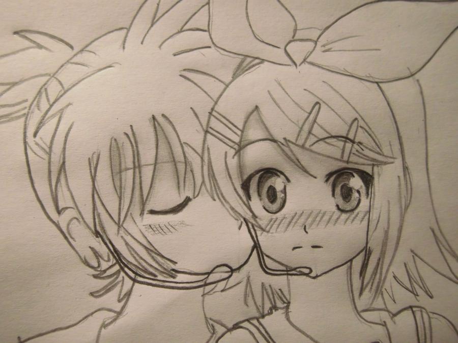 Как нарисовать Лен и Рин из Вокалоидов карандашом поэтапно