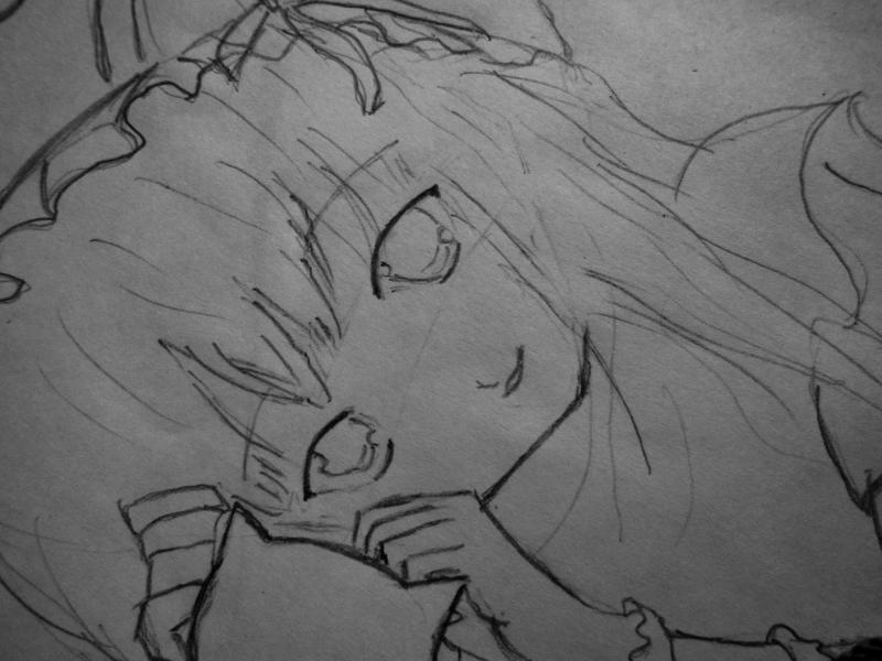 Рисуем лежащую аниме девушку кошку - шаг 2