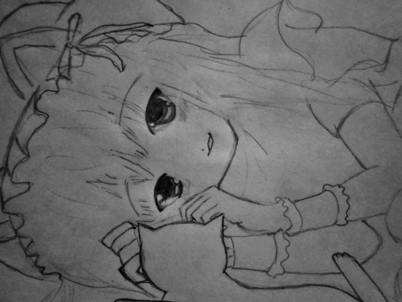 Рисуем лежащую аниме девушку кошку - шаг 4