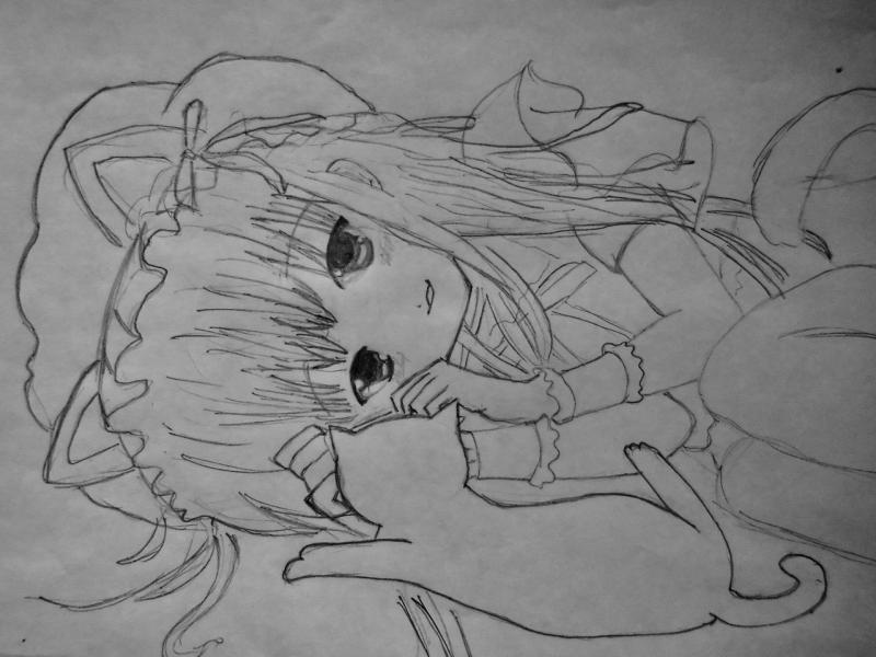 Рисуем лежащую аниме девушку кошку - шаг 5