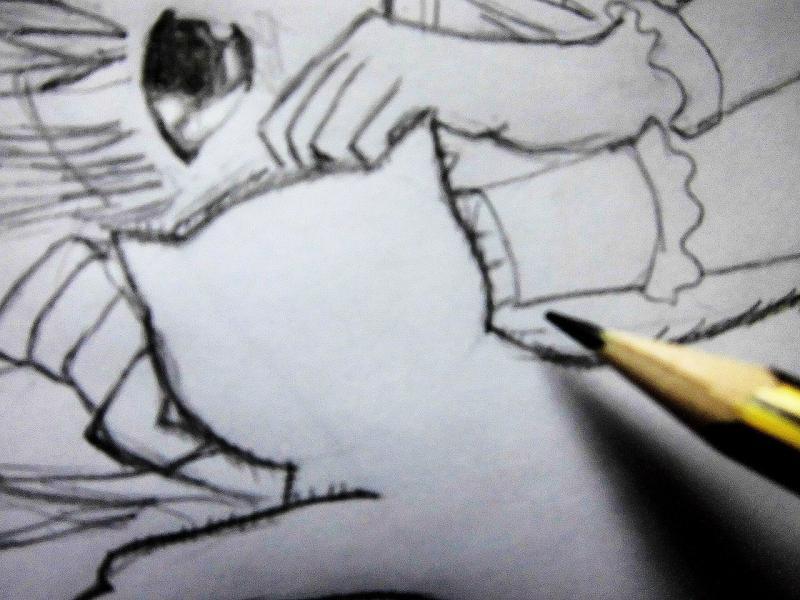 Рисуем лежащую аниме девушку кошку - шаг 6