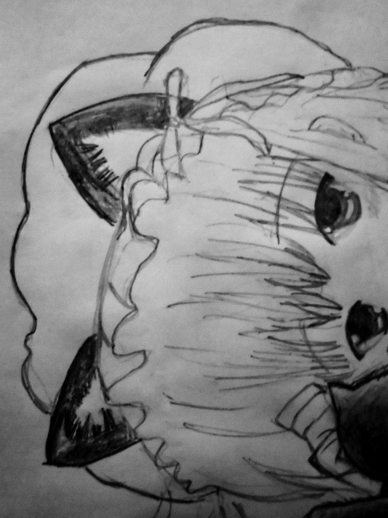 Рисуем лежащую аниме девушку кошку - шаг 8