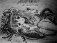 Фото лежащую аниме девушку кошку карандашом