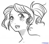 Фото лицо  девушки в стиле манга карандашом