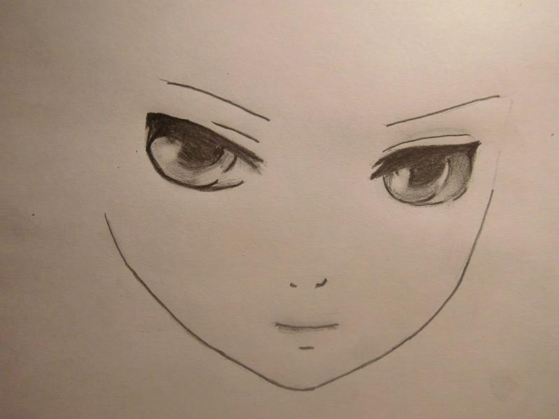 Рисуем лицо и волосы аниме девушки - шаг 2