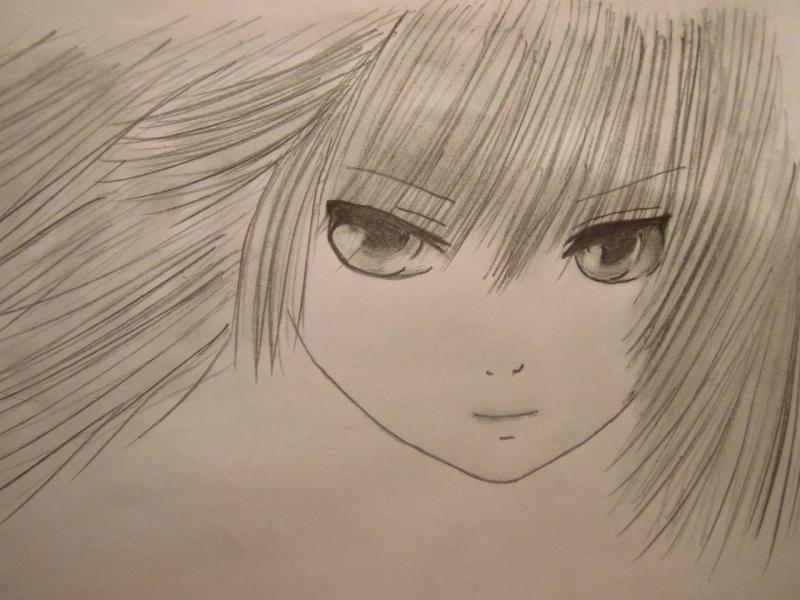 Рисуем лицо и волосы аниме девушки - шаг 5