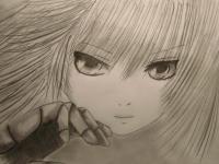 Фото лицо аниме девушки карандашом