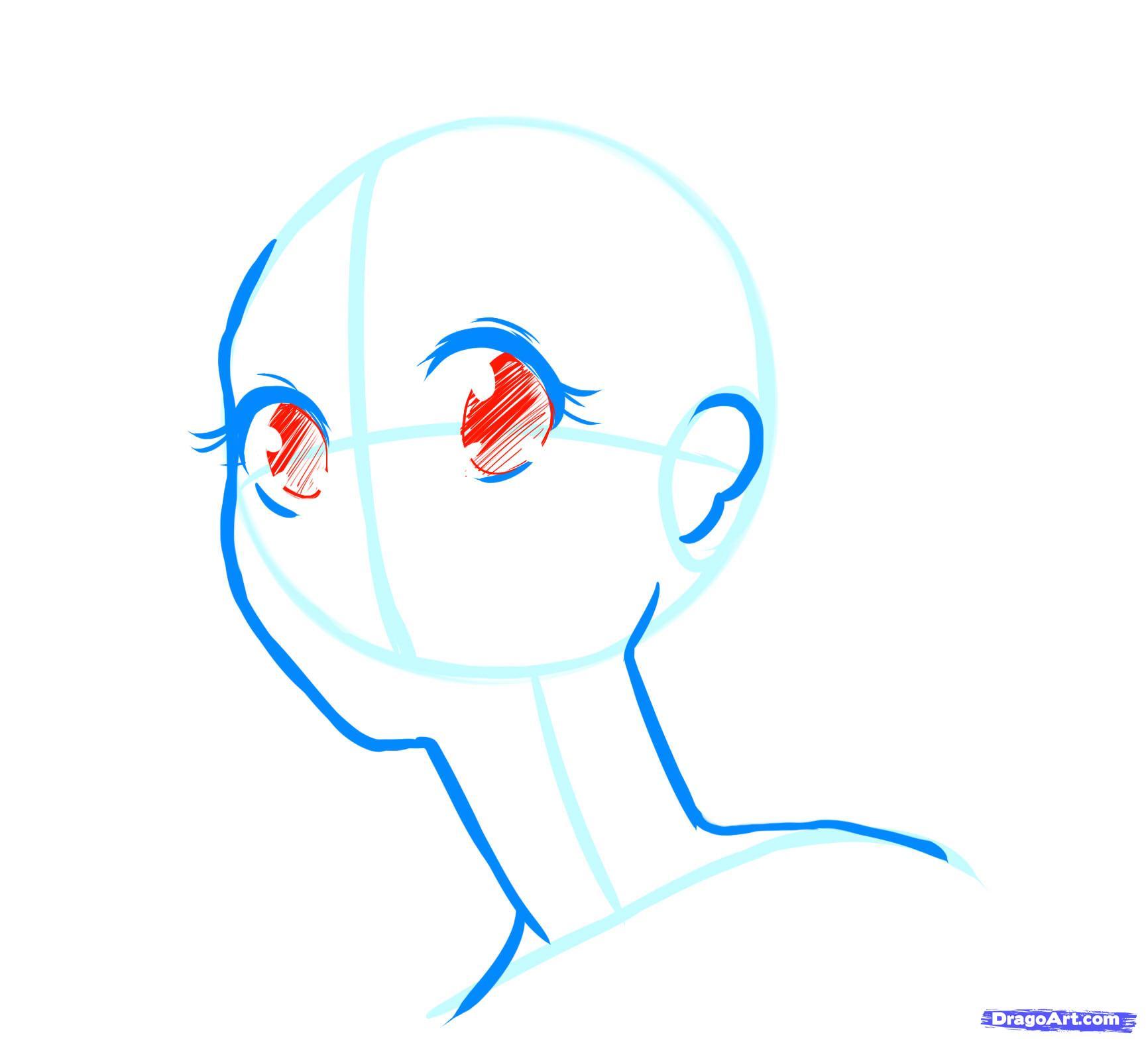 Рисуем лицо  девушки в стиле манга - фото 11
