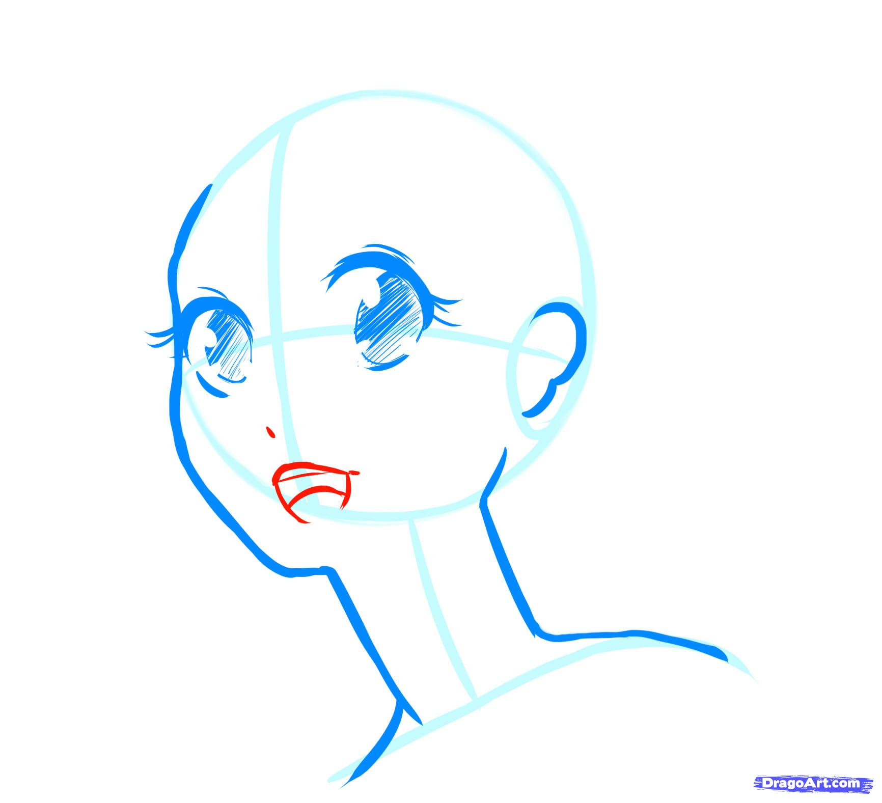 Рисуем лицо  девушки в стиле манга - фото 12