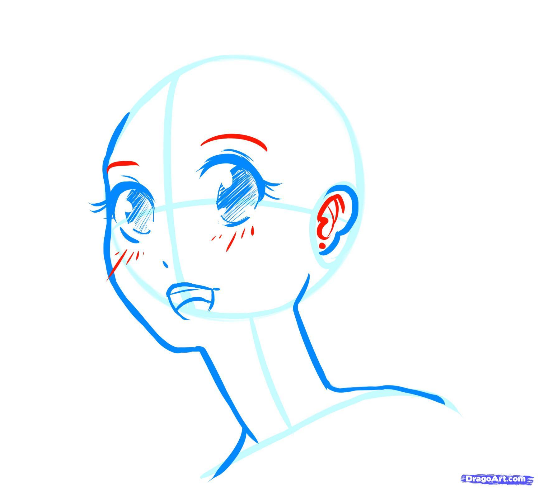 Рисуем лицо  девушки в стиле манга - фото 13