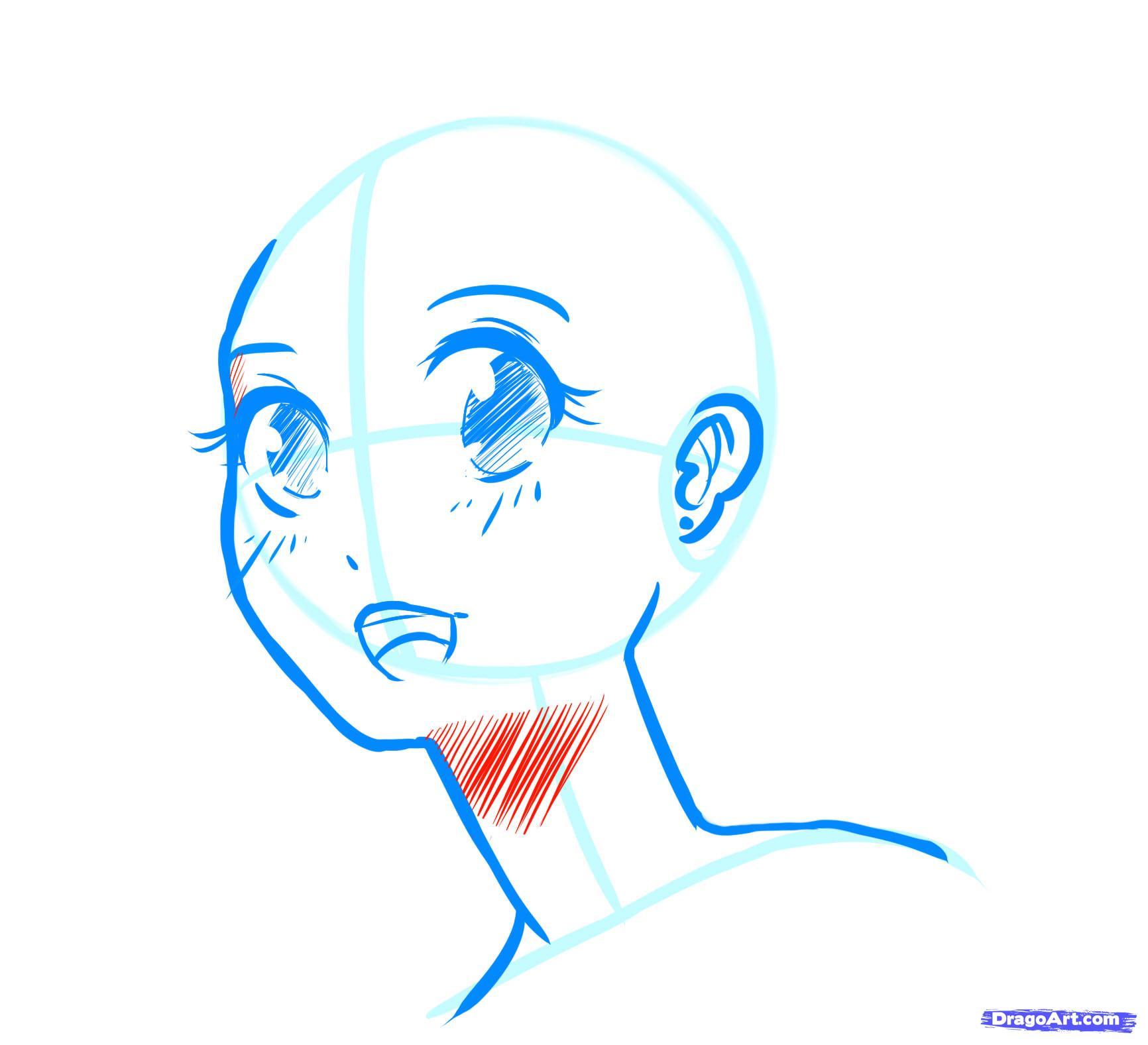 Рисуем лицо  девушки в стиле манга - фото 14