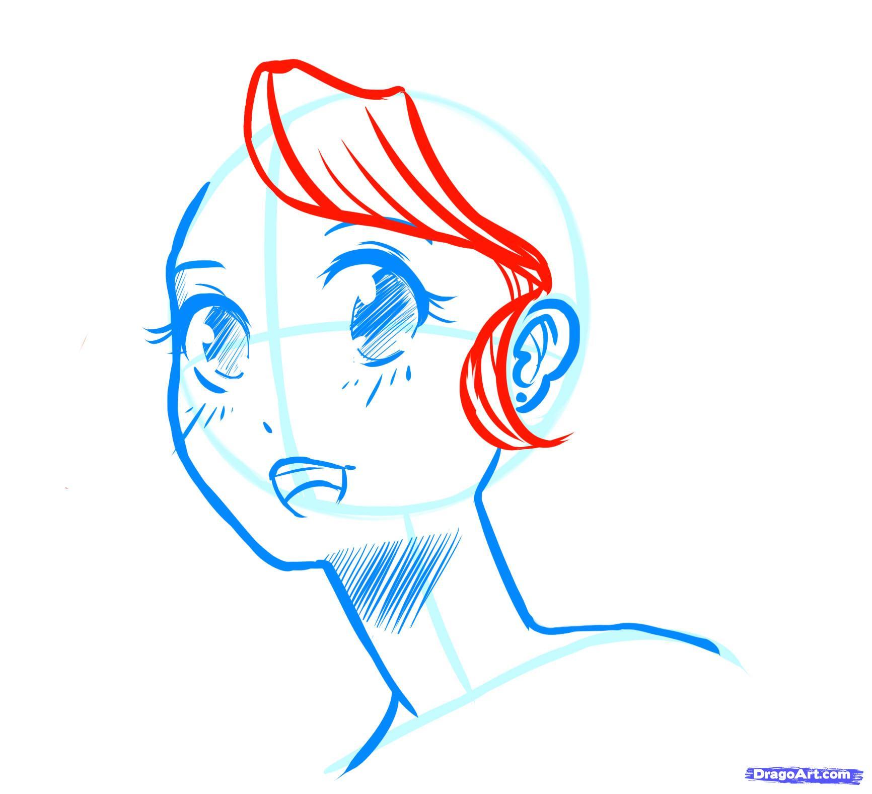 Рисуем лицо  девушки в стиле манга - фото 15