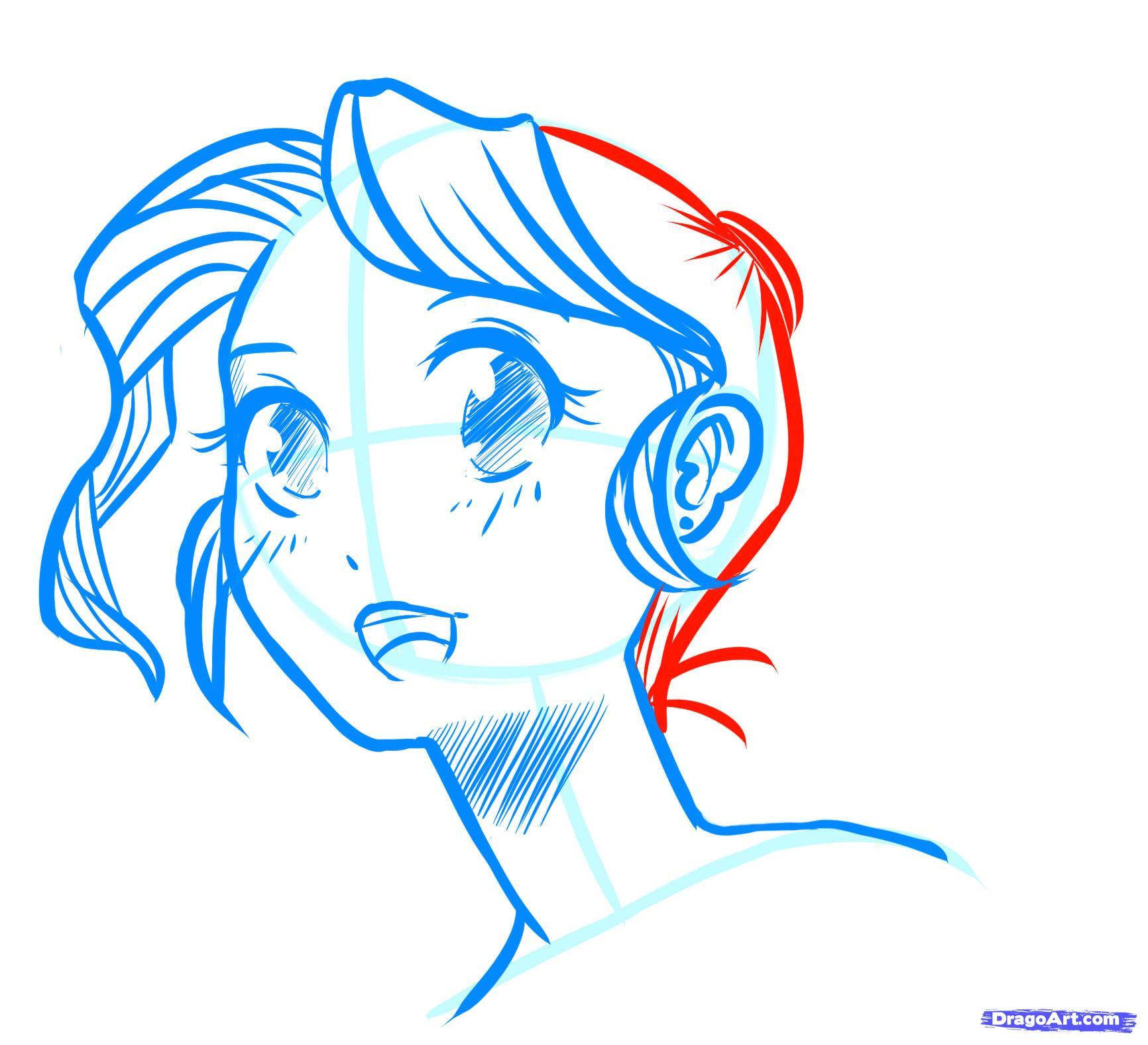 Рисуем лицо  девушки в стиле манга - фото 17