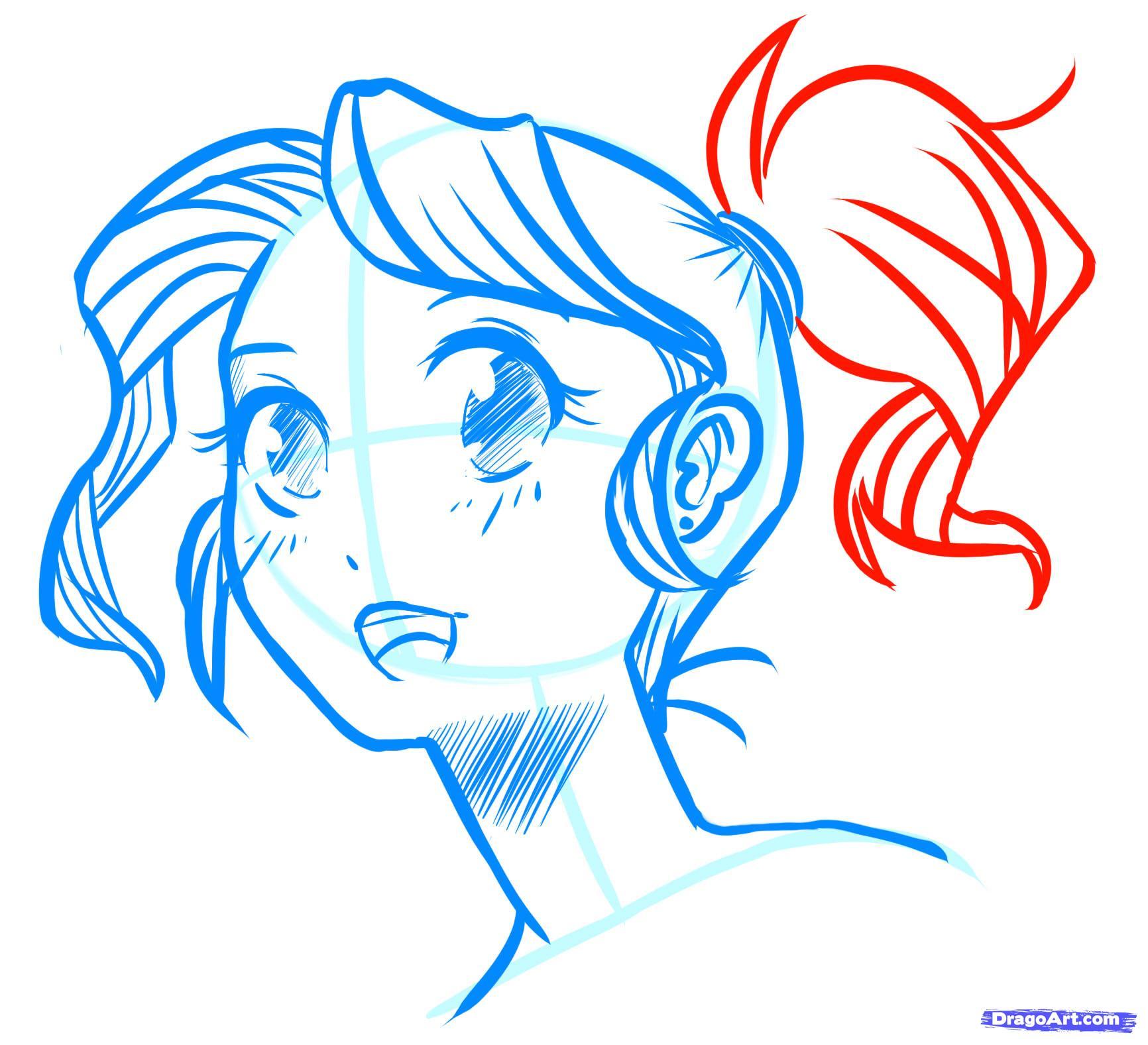 Рисуем лицо  девушки в стиле манга - фото 18