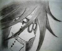 Как нарисовать лицо Грель Сатклифф из Тёмный дворецкий карандашом