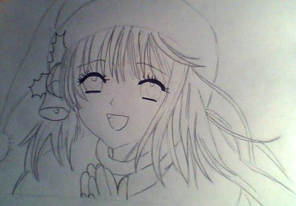 Рисуем лицо милой аниме девушки в шапке санты - шаг 4