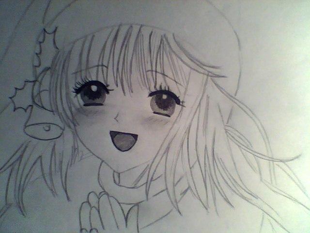 Рисуем лицо милой аниме девушки в шапке санты - шаг 5