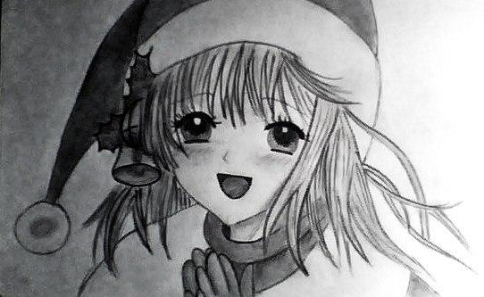 Рисуем лицо милой аниме девушки в шапке санты - шаг 8