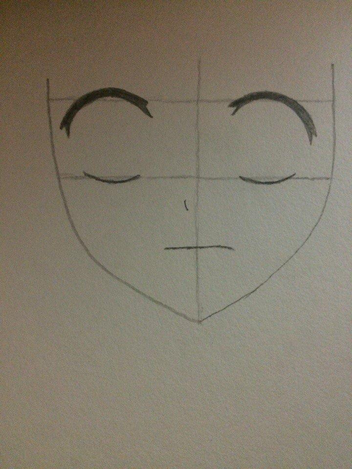 Рисуем лицо Люси из Хвоста Феи простым - шаг 2