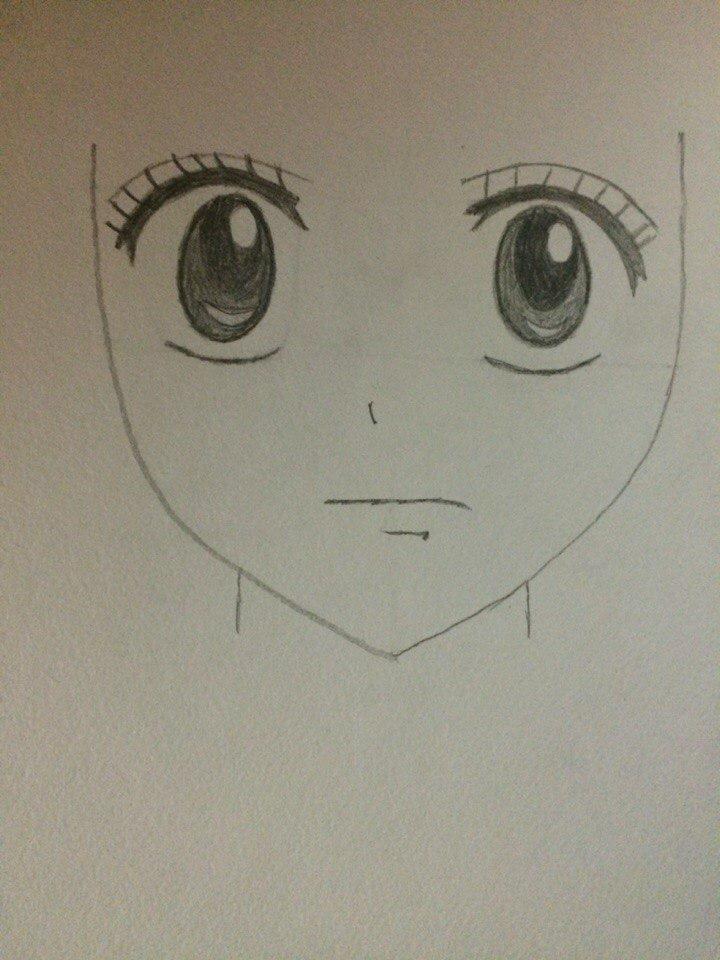 Рисуем лицо Люси из Хвоста Феи простым - шаг 3