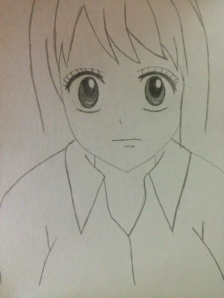 Рисуем лицо Люси из Хвоста Феи простым - шаг 5