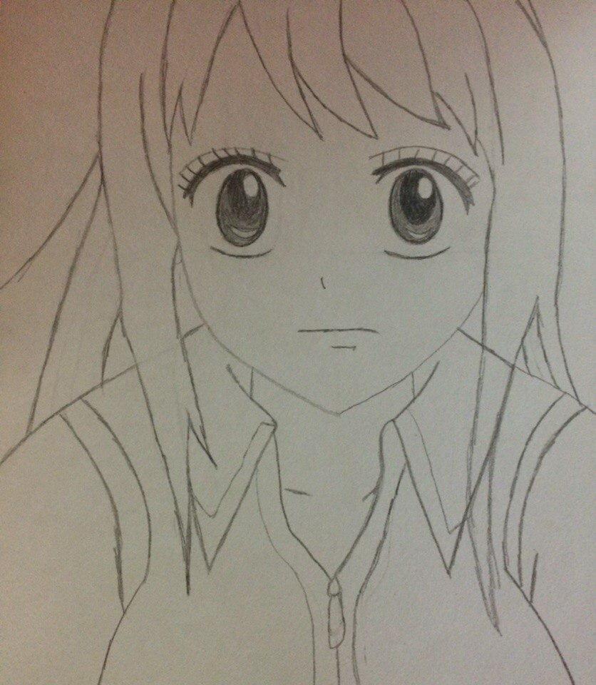 Рисуем лицо Люси из Хвоста Феи простым - шаг 6
