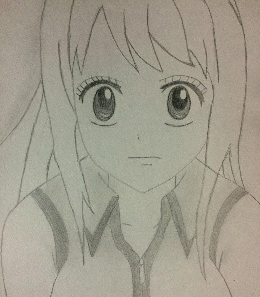 Рисуем лицо Люси из Хвоста Феи простым - шаг 7
