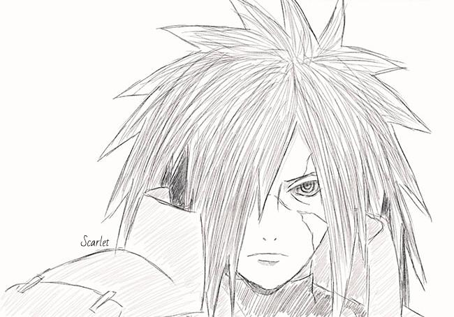 Как нарисовать Мадару Учиху из Наруто карандашом поэтапно