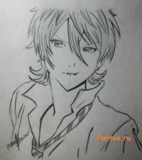 Как нарисовать Махиро Фува из Буря потерь простым карандашом