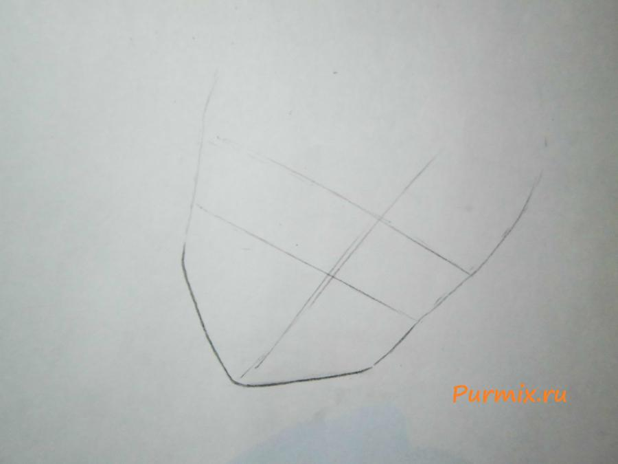 Рисуем Макото Кино карандашами - шаг 1