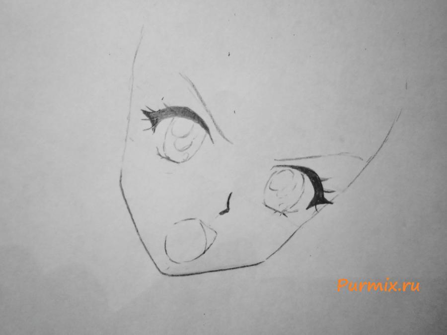 Рисуем Макото Кино карандашами - шаг 2