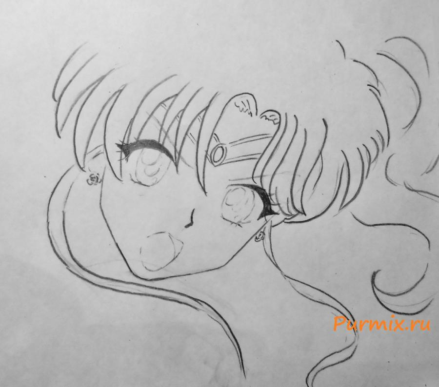 Рисуем Макото Кино карандашами - шаг 3