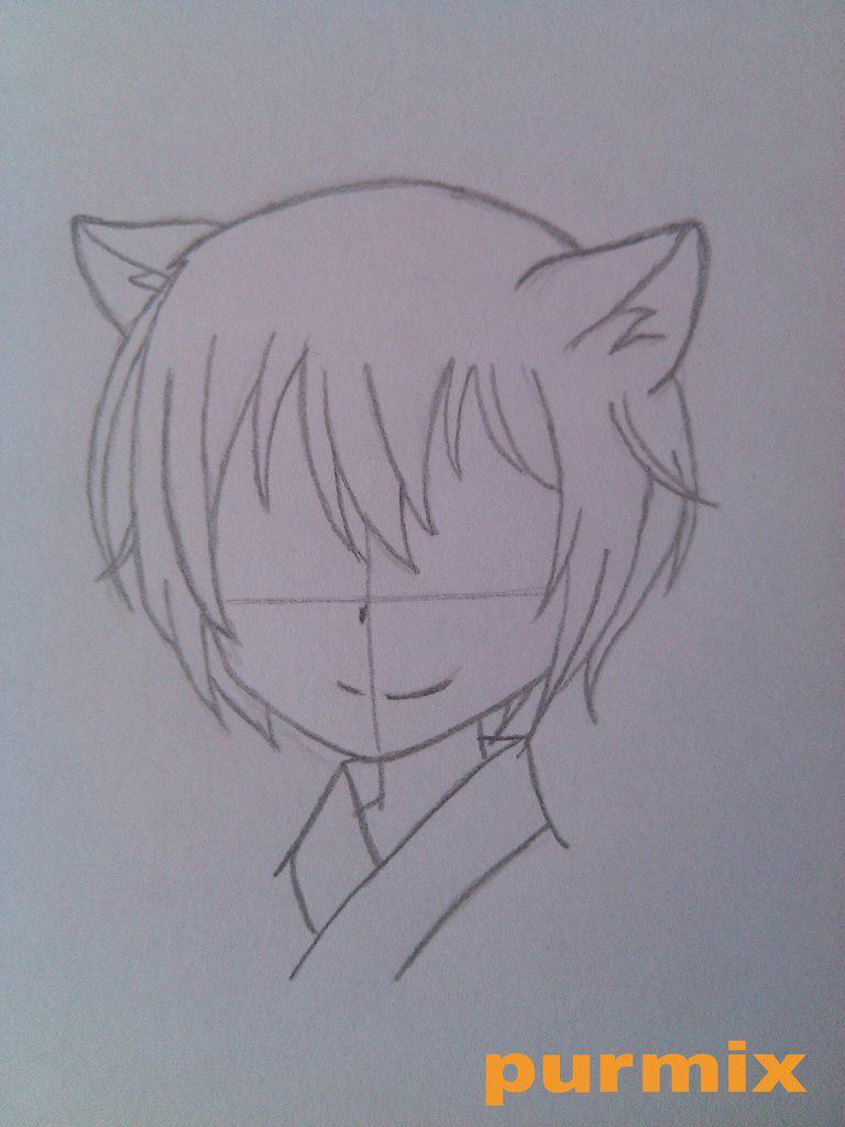 Рисуем маленького Томое из аниме Очень приятно-Бог - шаг 3