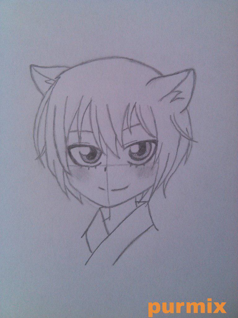 Рисуем маленького Томое из аниме Очень приятно-Бог - шаг 4