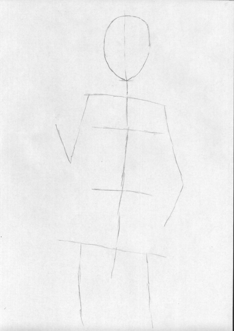 Рисуем Микаса Акерман в полный рост карандашами - шаг 1