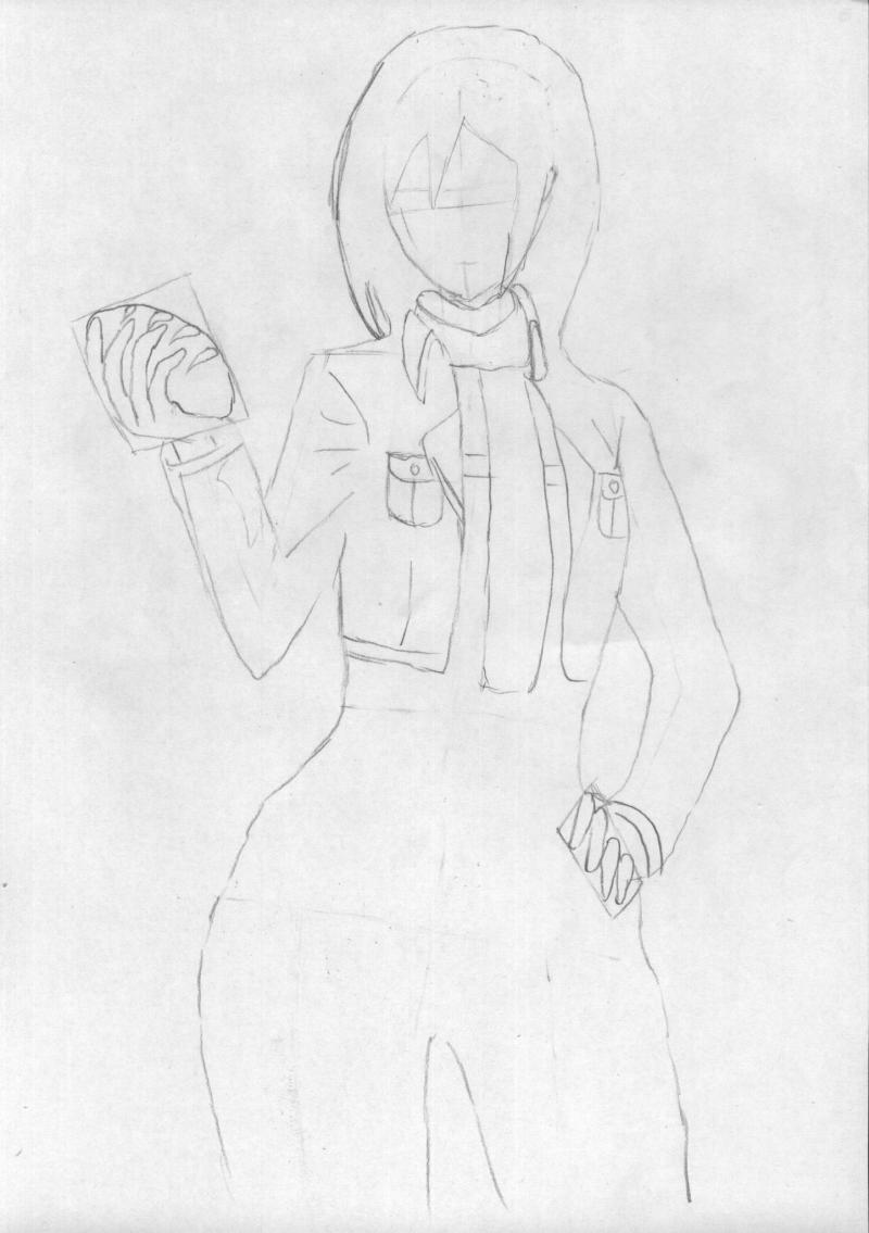 Рисуем Микаса Акерман в полный рост карандашами - шаг 3