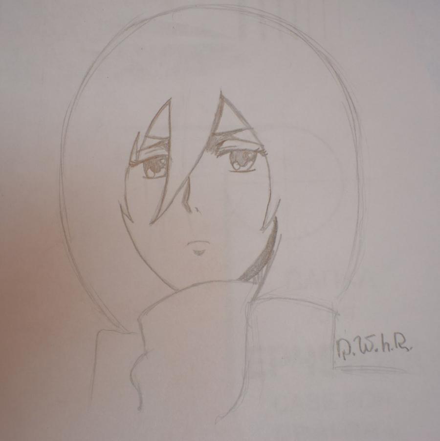 Как просто нарисовать портрет Микасы Акерман из Атака титанов - шаг 3