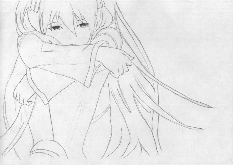 Рисуем грустную Мику Хацунэ - шаг 5