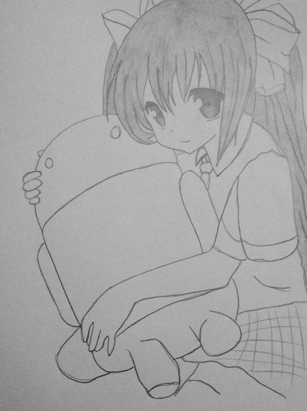 Рисуем Мику обнимающую Андроид простым - шаг 10