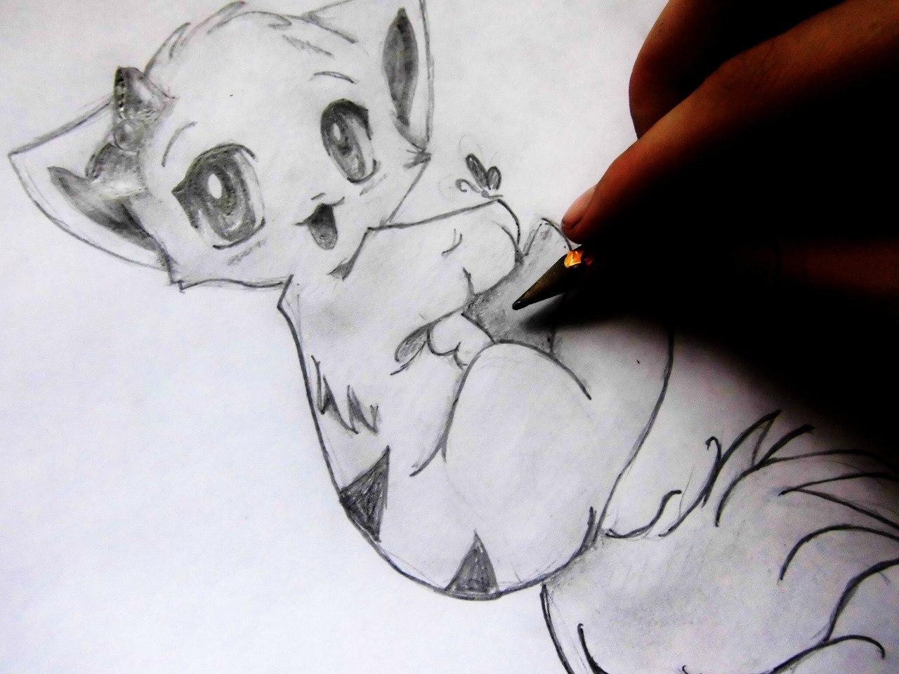 Рисуем милого аниме котенка - шаг 10
