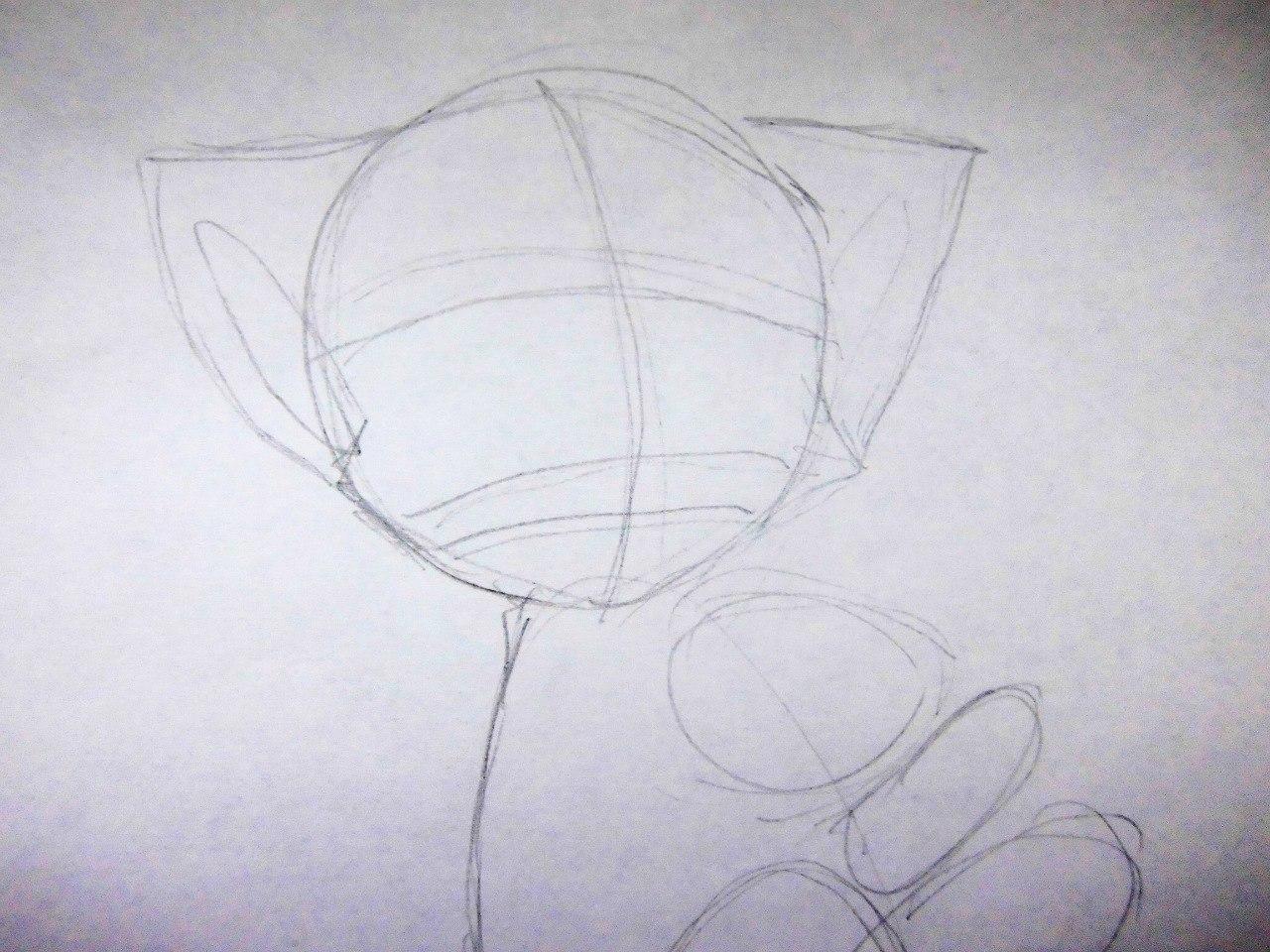 Рисуем милого аниме котенка - шаг 2