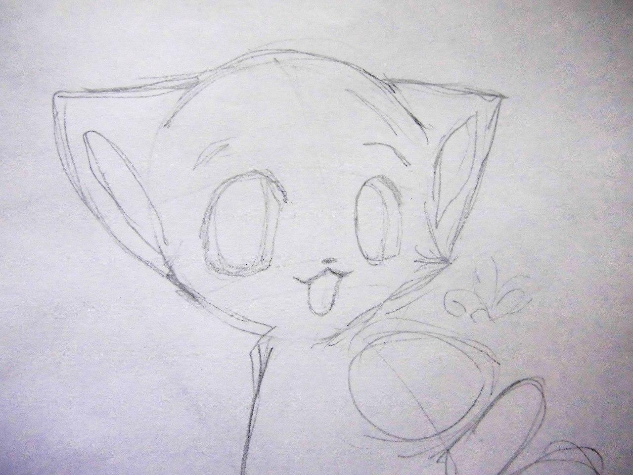 Как нарисовать милого аниме котенка