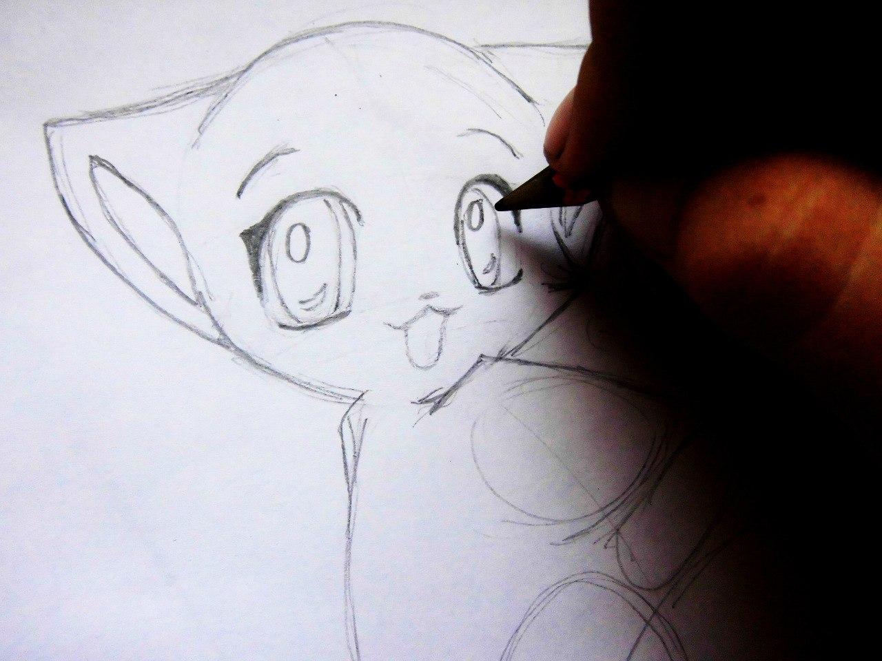 Рисуем милого аниме котенка