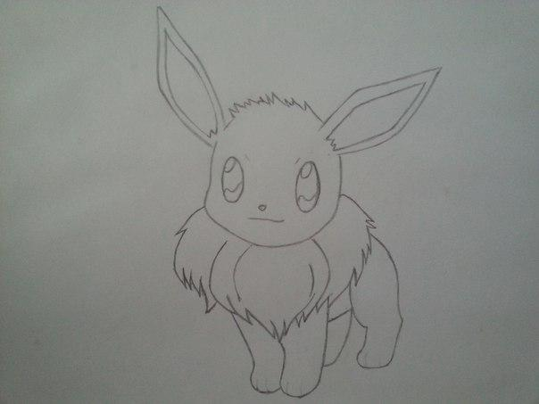 Рисуем милого покемона Иви - шаг 4