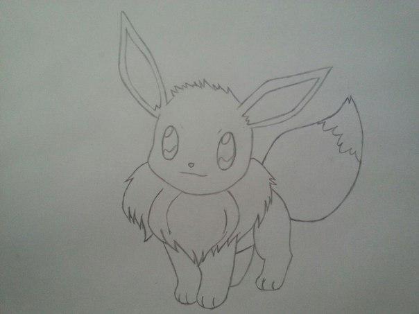 Рисуем милого покемона Иви - шаг 5