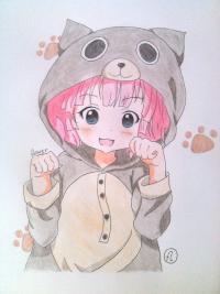 Рисунок милую аниме девочку в пижамке