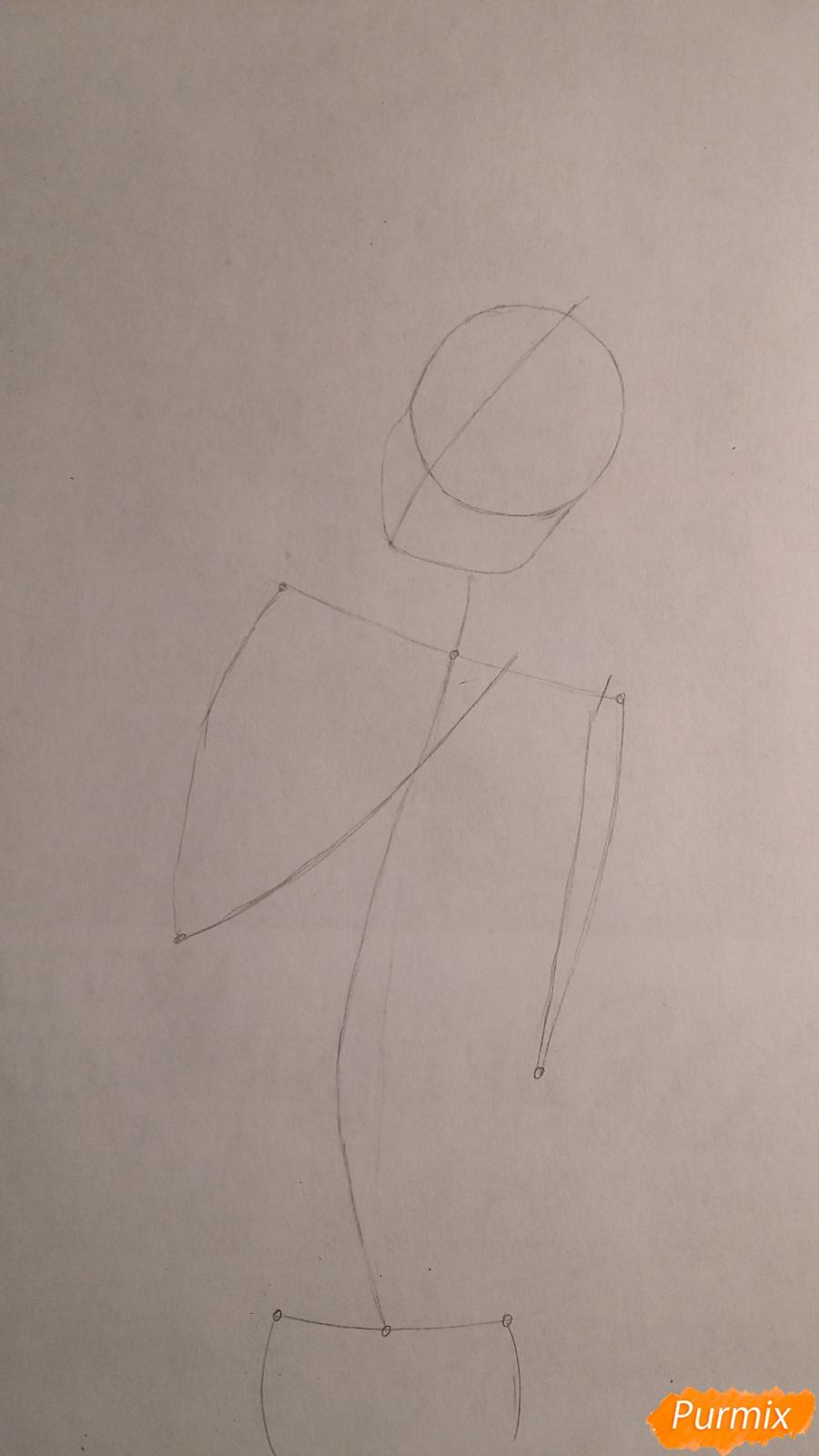 Рисуем милую девушку в аниме стиле карандашами - шаг 1