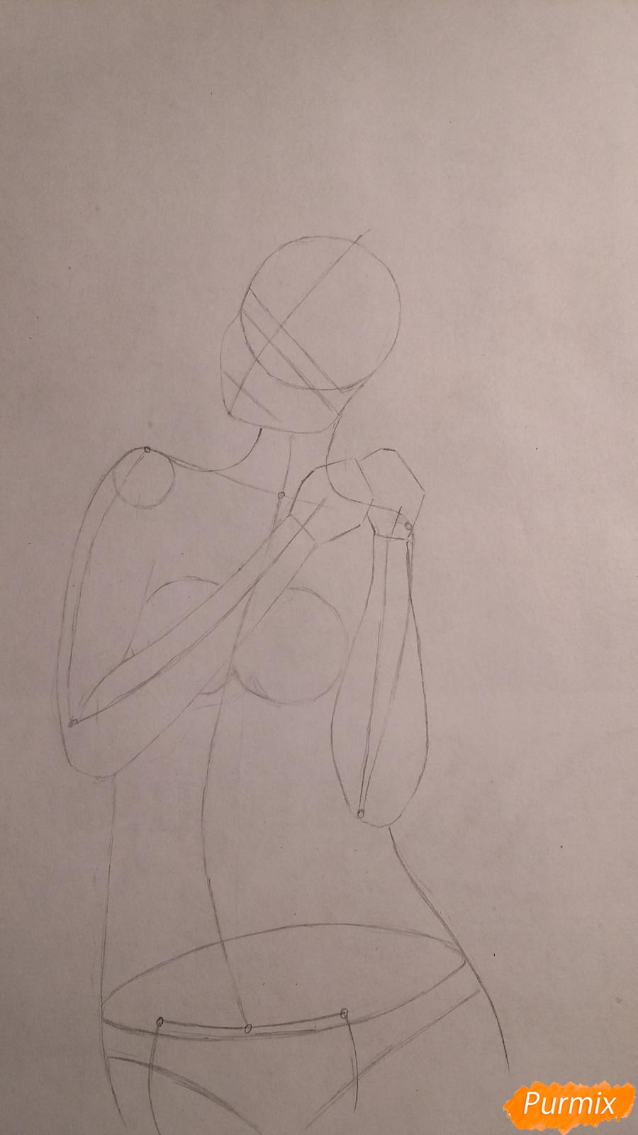 Как нарисовать милую девушку в аниме стиле карандашами поэтапно - шаг 2